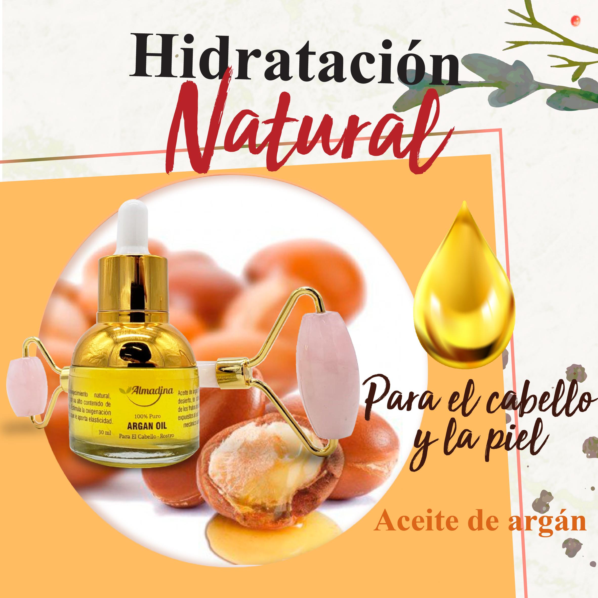 Aceite de Argán Puro + Roller de Cuarzo Rosa