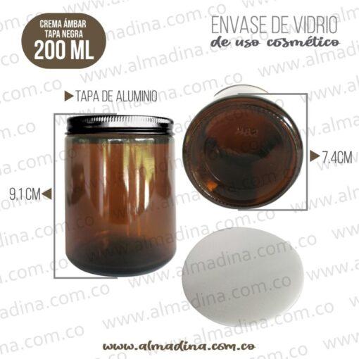 ENVASE CREMA 200ML TAPA BLACK