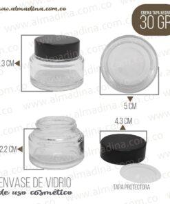 Crema 30 gramos transparente, tapa negra