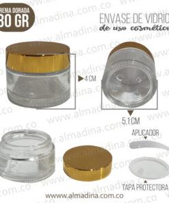 Envase crema 30 gramos tapa dorada
