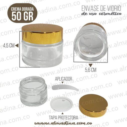 Envase Crema 50 Gramos Tapa Dorada