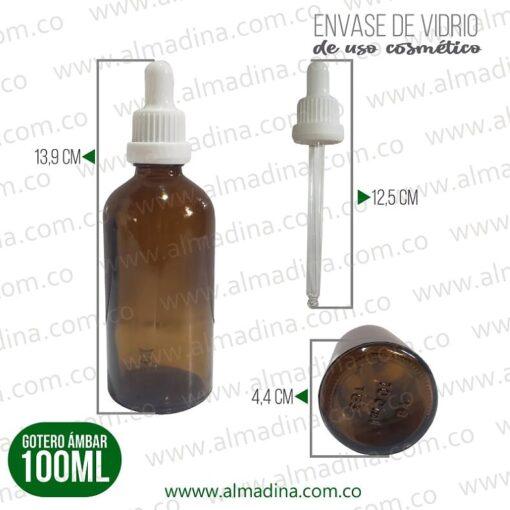 Gotero de Vidrio 100 ml Ámbar