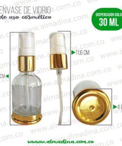 Envase dispensador 30ml dorado